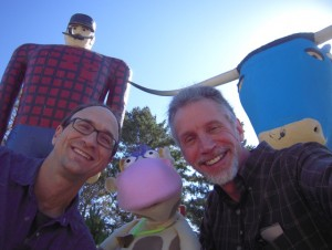 Mike, Cow & David with Paul & Babe the Blue Ox in Brainerd
