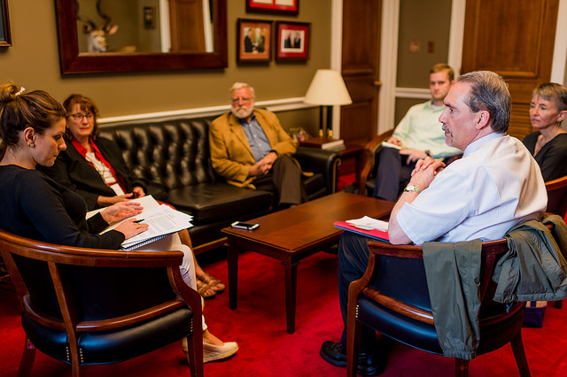 House Office visit with Minnesota library advocates: Judith Schotzko, Skip Levesque, Chris and Jim Weikum